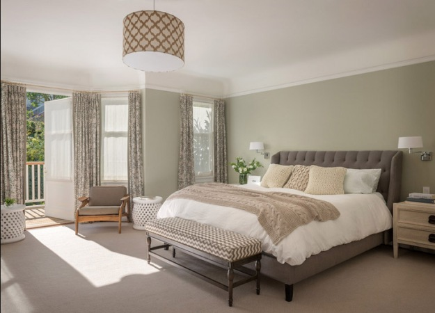 decorating with neutrals, neutral palette, texture, pattern, gray and cream bedroom, BM Spanish Olive
