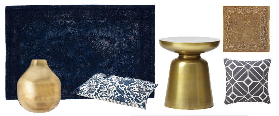 Nate Berkus Metal Vase | West Elm Bursa Wool Rug | Ikea Emmie Kvist Pillow  | West Elm Martini Side Table | World Market Square Brass Embossed Chargers  ...